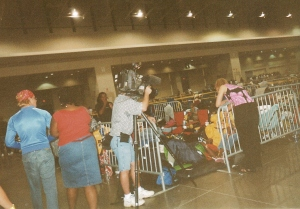 Penned-in superstars draw a lot of media attention. (Photo by Terry Byrne, Copyright 2004)