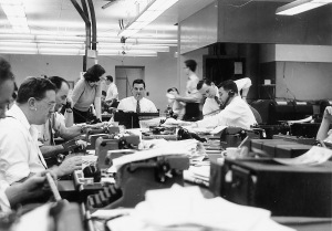 Journalism's good ol' days. Except it wasn't too good for women, or non-smokers.
