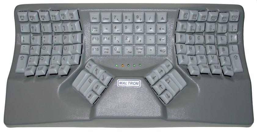 A more complex arrangement in the Dvorak keyboard by Maltron.