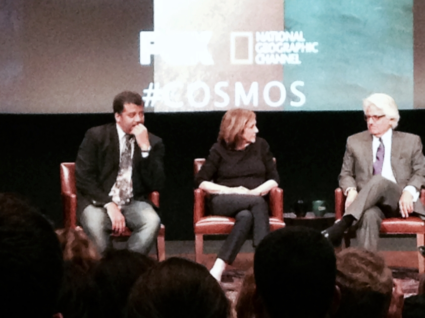 Neil deGrasse Tyson, with Ann Druyan and executive co-producer MitchellCannold.