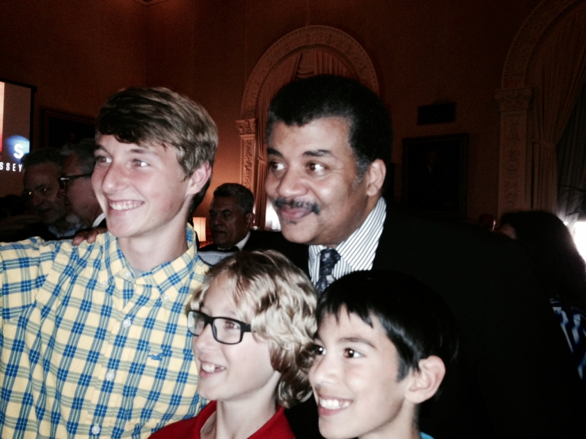 Neil deGrasse Tyson with his youngest fans in attendance. (Photo by Terry Byrne)